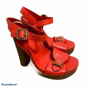 Tory Burch Bright Coral Platform Sandals 7.5 Women